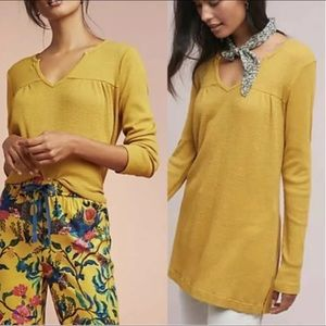 Anthropologie T.La Waffle Knit Tunic Long Sleeve